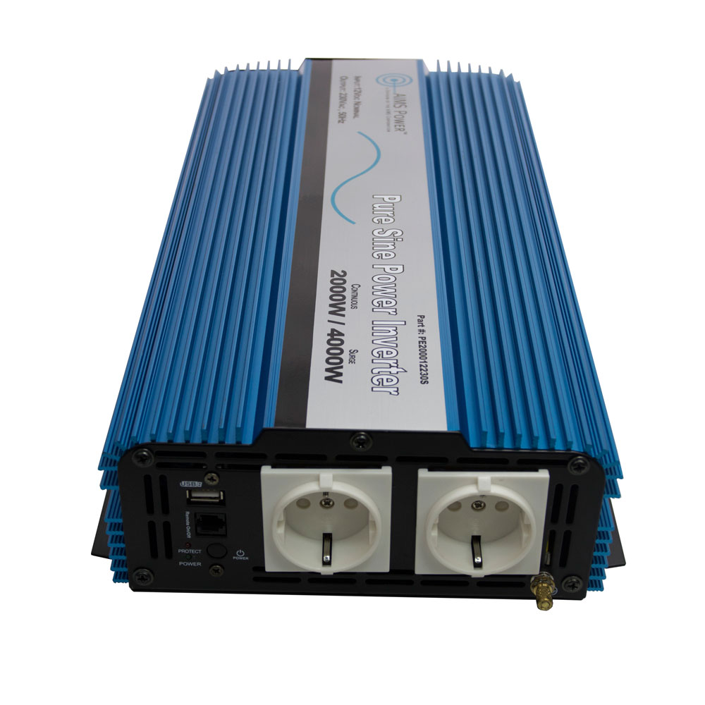 2000 Watt Pure Sine Wave Inverter European 12 VDC to 230 VAC