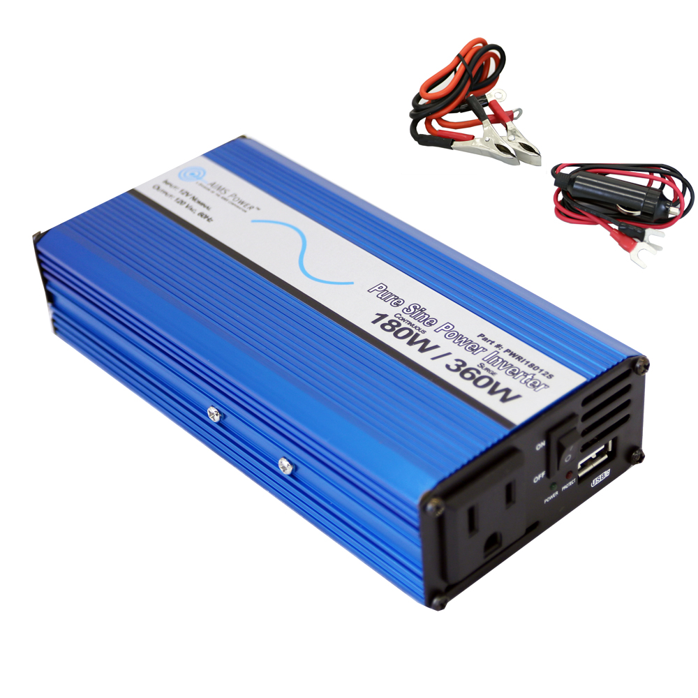 180 Watt Pure Sine Power Inverter with USB Port