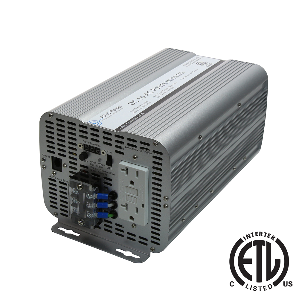 2000 Watt Power Inverter GFCI ETL Listed Conforms to UL458 Standards