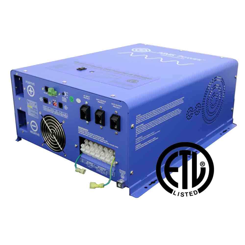 6000 WATT PURE SINE INVERTER CHARGER 24Vdc TO 120Vac OUTPUT LISTED TO UL458