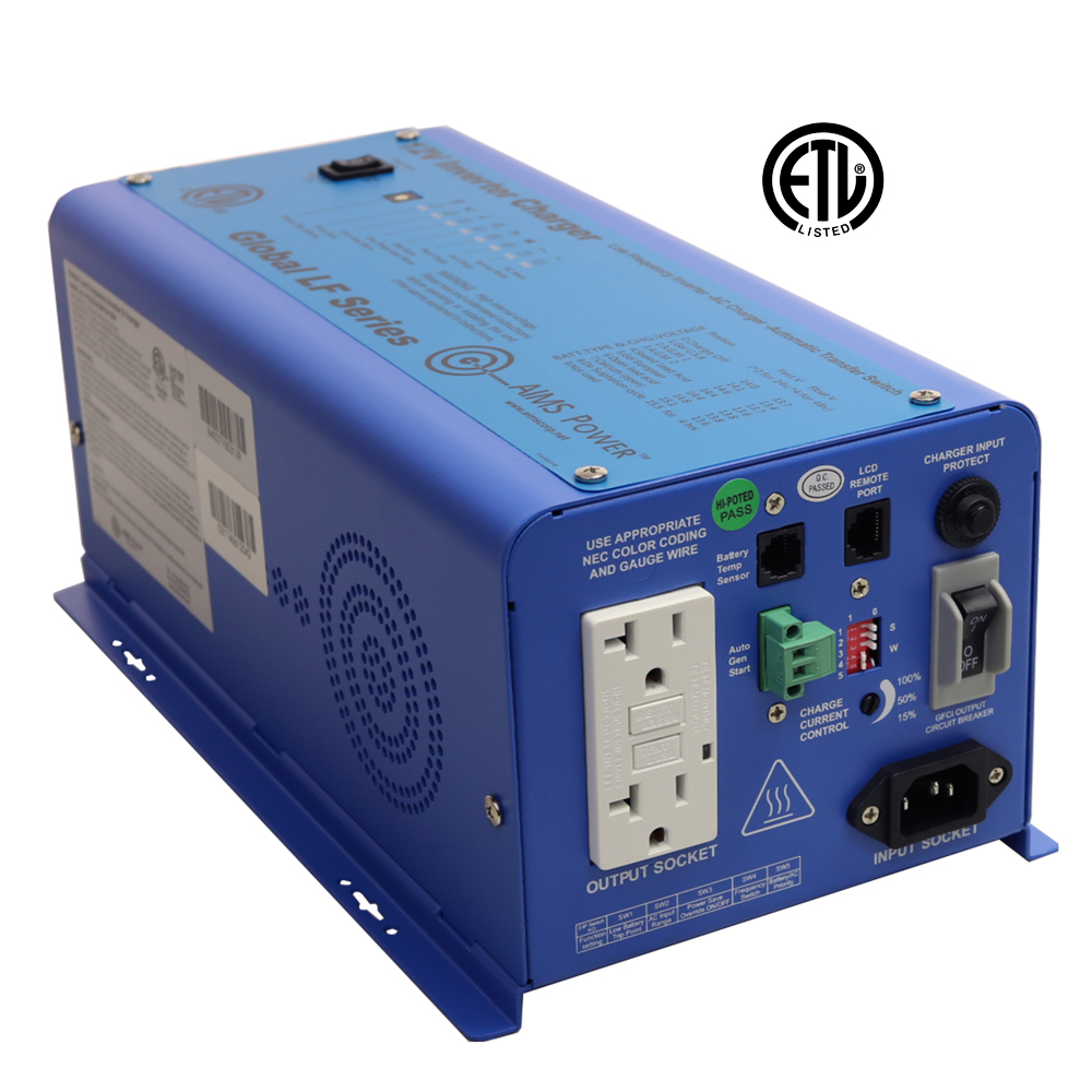 600 Watt Pure Sine Inverter Charger 12V ETL Listed to UL 458