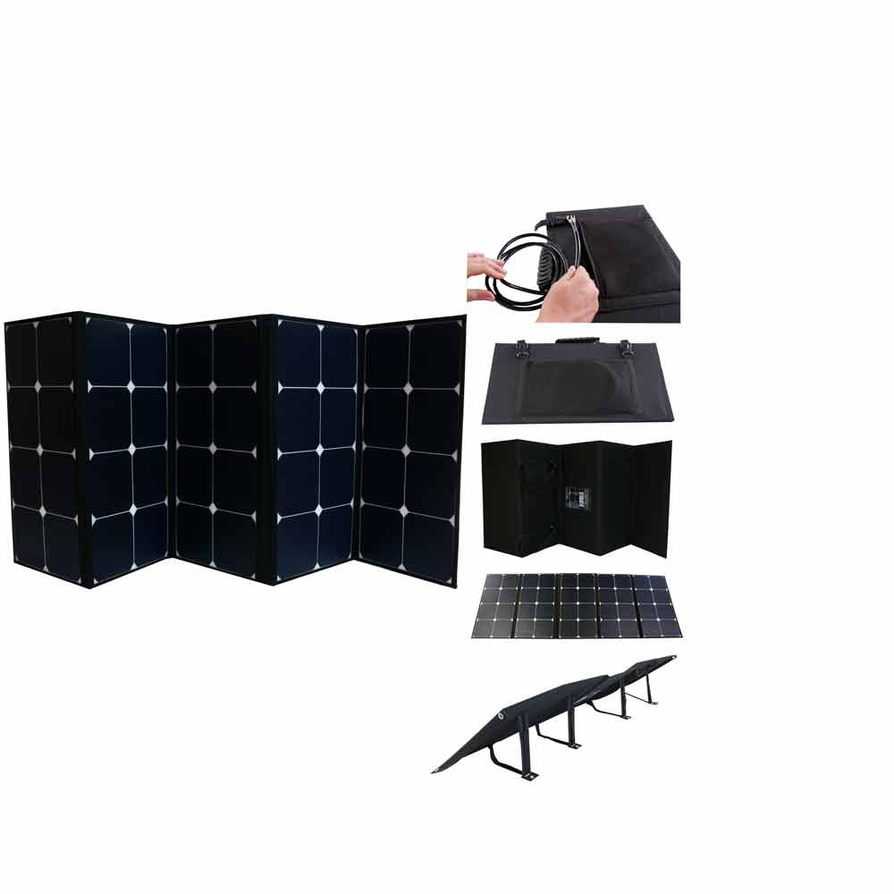 130 Watt Portable Foldable Solar Panel Pre-wired and Built In Carrying Case Monocrystalline