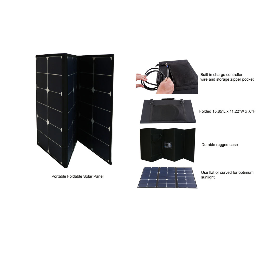 60 Watt Portable Foldable Solar Panel Pre-wired and Built-in Carrying Case Monocrystalline