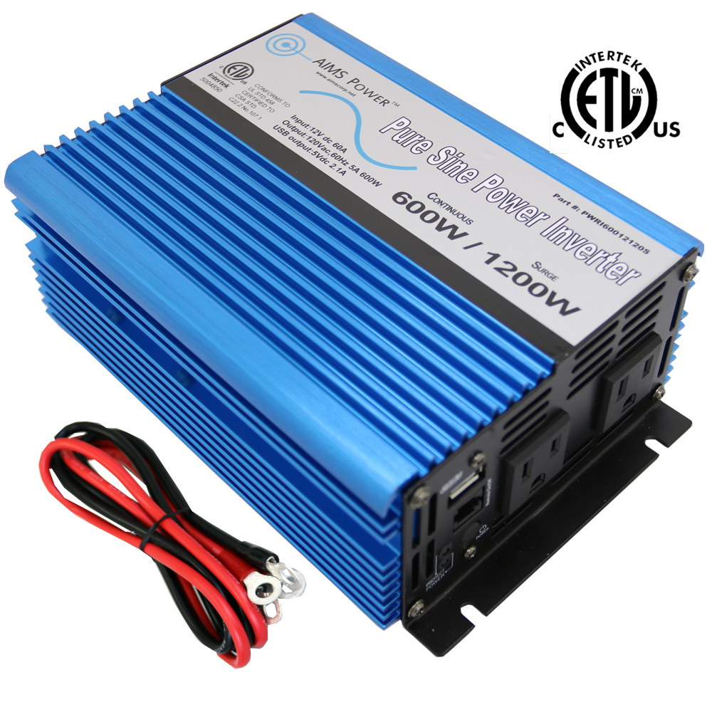600 Watt Pure Sine Power Inverter 12 Volt Listed to UL 458