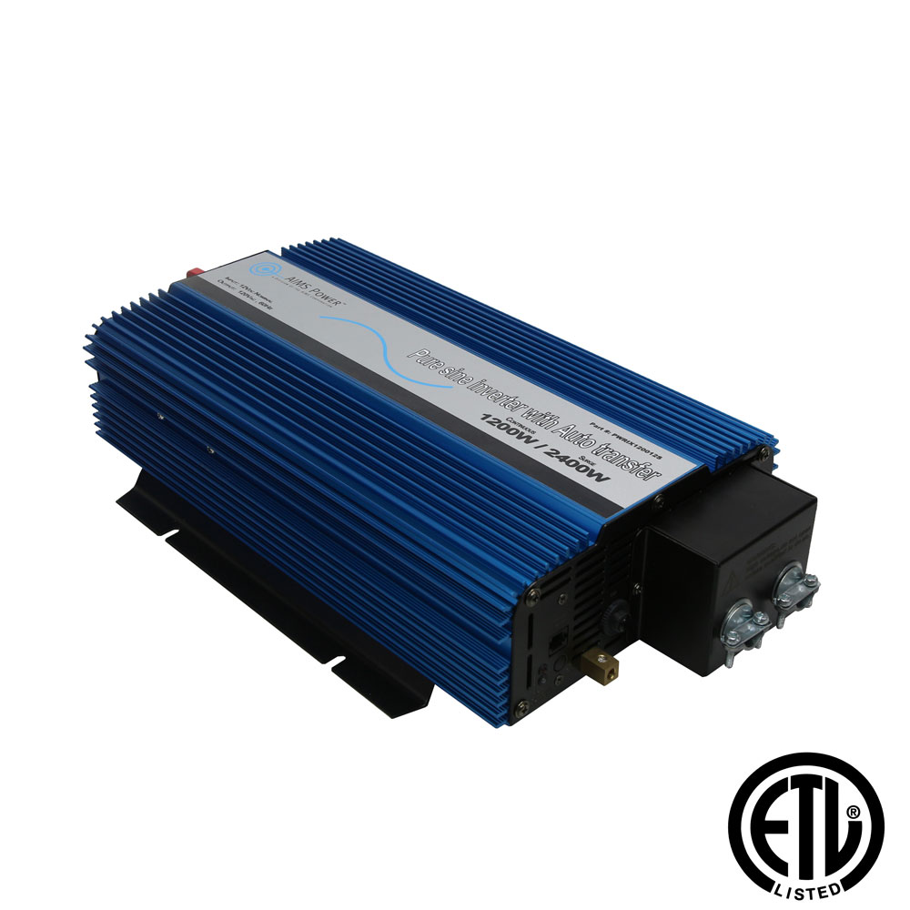 1200 Pure Sine Inverter with Transfer Switch - ETL Certified Conforms to UL458 Standards Hardwire Only