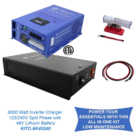 Off Grid / Back Up 8000 Watt Pure Sine Inverter Charger Split Phase 120V/240V & 24V Lithium Battery Kit